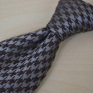 Charvet Gray Brown Houndstooth Wool Blend Tie